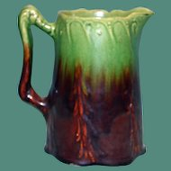 Antique Green and Dark Brown Majolica Milk Pitcher, 6 & 1/8 Inches Tall