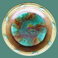 Antique Majolica Deep Plate in Emerald, Brown & Wheat, 10""