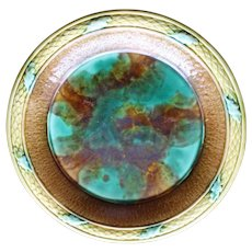Antique Majolica Deep Plate in Emerald, Brown and Wheat