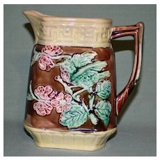 Antique Majolica Pitcher with Bird and Flowers