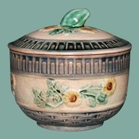 "Antique American Griffen, Smith, & Hill Etruscan Majolica Covered Sugar, ""Wild Rose"""
