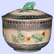 """Antique American Griffen, Smith, & Hill Etruscan Majolica Covered Sugar, """"Wild Rose"""""""