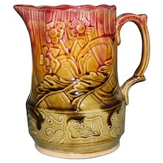 "Antique Majolica Deep Rose and Sage 6.5"" Milk Pitcher"