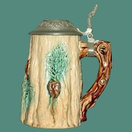 Antique Majolica Stein with Tree Trunk Design, 7 Inches