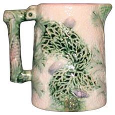 Antique Majolica Etruscan Pitcher, Coral Pattern - Rare Piece
