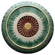 Antique Griffen, Smith, Hill Majolica Trivet, Leaf Border