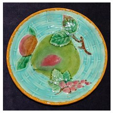 Antique Wedgwood Majolica Plate with Fruits on Turquoise Ground