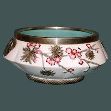 "Antique Large Wedgwood Argenta Majolica Bowl, Turquoise Interior, 9.5"""