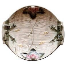 1878 Antique English Wedgwood Argenta Majolica Strawberry Dish