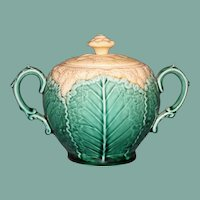 Antique English Wedgwood Majolica Cauliflower Covered Sugar