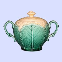 Antique English Wedgwood Majolica Cauliflower Covered Sugar