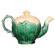 """Antique Wedgwood Majolica """"Cauliflower"""" Teapot, Outstanding Condition"""