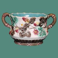 "Antique Majolica Wedgwood Sugar Bowl in ""Strawberry"" Pattern"