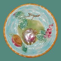 Antique Wedgwood Majolica Plate, Fruit and Leaves