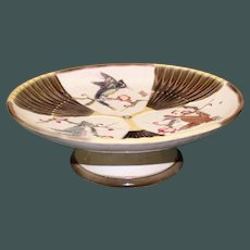 1879 Antique English Wedgwood Argenta Majolica Compote, Bird and Fan