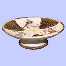 Antique Wedgwood Argenta Majolica Compote, Bird and Fan