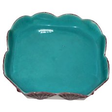 Antique (1880) Wedgwood Majolica Octagonal Dish with Turquoise Interior