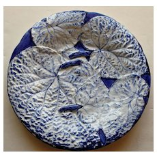 Antique Majolica Plate with Snow White Overlapping Begonia  Leaves