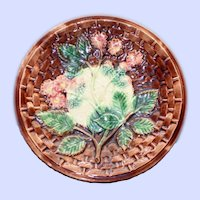 Antique Majolica Plate, Blackberry Pattern
