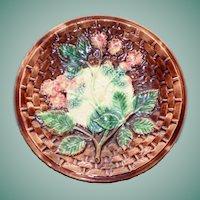 Antique Majolica Plate, Blackberry Pattern