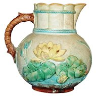 Antique 8 Inch Majolica Pitcher with Water Lilies
