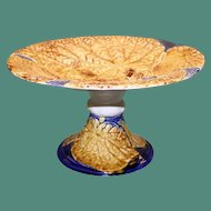 Antique Cafe au Lait and Cobalt Majolica Overlapping Begonia Leaf Compote