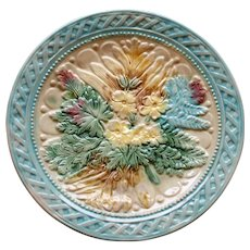 Antique Majolica Plate, Spring Flower Bouquet, Turquoise Basketweave Border