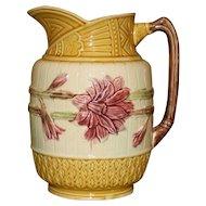 Antique Samuel Lear Majolica Sunflower Pitcher