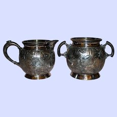 Antique Aesthetic Meriden Sugar and Creamer Set, Quadruple Plate, Repousse Botanic