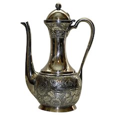 Meriden Antique Silver Plate Coffee Pot with Intricate Flower & Leaf Design