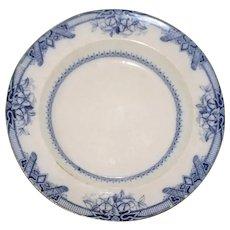 Antique Flow Blue Milan Border Bowl, Thomas Dimmock 1828-1859