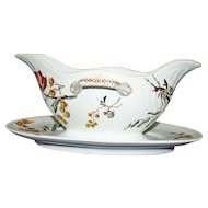 Antique French Luneville Faience Sauce Boat or Gravy in Mimosa Pattern
