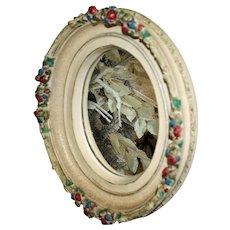 Vintage Oval Barbola Mirror, 17 Inches