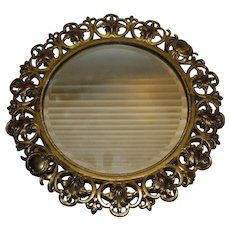 Antique Round Beveled Mirror with Reticulated Brass Frame