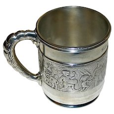 "1908 Tiffany antique Sterling Silver Mug, ""Children's Parade"""