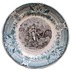 Antique French Polychrome Transferware Napoleon Plate