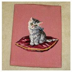 Vintage Needlepoint of Kitten on Pillow