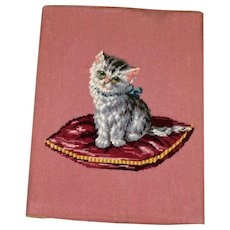 Vintage Needlepoint of Kitten on Pillow