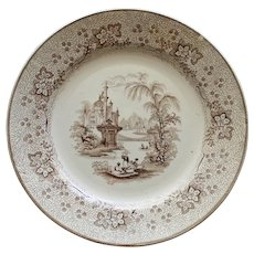 "Antique Brown Transferware ""Nonpareil"" by T. & J. Mayer, c. 1840"