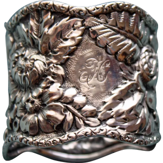 Antique American Sterling Repousse Napkin Ring, Ferns and Flowers