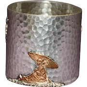 Antique Gorham Sterling Napkin Ring, Mixed Metals, Stunning