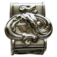 La Pierre American Sterling Napkin Ring - Art Nouveau Woman with Flowing Hair
