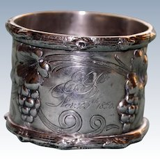 Antique American Coin Silver Grapes Napkin Ring Dated 1856