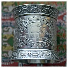 1876 Antique Gorham Coin Silver  Napkin Ring, American Silver, Exquisite and Heavy