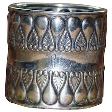 1896 Gorham American Antique Sterling Napkin Ring  with Stylized Leaf Design.