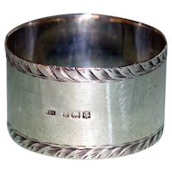 1927 English Hallmarked Sterling Silver Napkin Ring, Birmingham, by William Haseler
