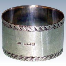 1927 English Hallmarked Sterling Silver Napkin Ring, Birmingham, by William Haseler