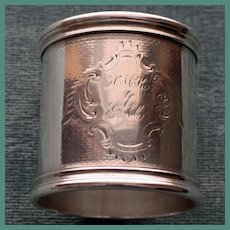 Antique Heavy American Coin Silver  Napkin Ring. c. 1875