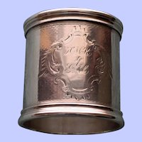 61.5 Gram Antique Heavy American Coin Silver Napkin Ring c. 1875