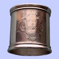 61.5 Gram Antique Heavy American Coin Silver Napkin Ring c. 1875